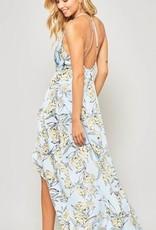 Halter Maxi Hi Lo Dress Sky Blue