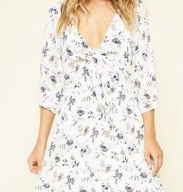 V Neck Knotted Front Dress White/Navy