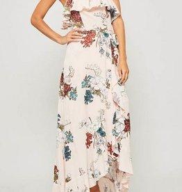 Flounce Ruffled Maxi Dress Peach