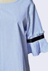 Band Detail Stripe Blouse Blue