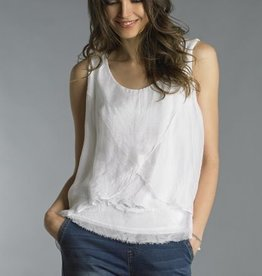 Tiered Assymetrical Hem Top White