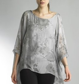 Floral Flowy Assymetrical Tunic Top Grey