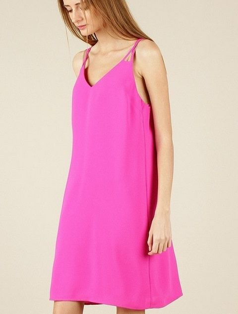 Cut Out Back A-Line Dress Violet Magenta