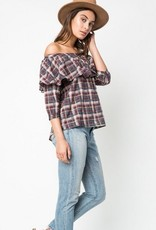 Plaid Off the Shoulder Top Plum Mix