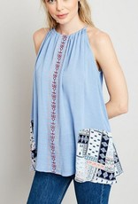 Embroidered Patchwork Tunic Dusty Blue