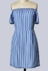 Off Shoulder Stripe Short Slv Dress Med Blue