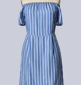 Off Shoulder Stripe Short Slv Dress Med Blue