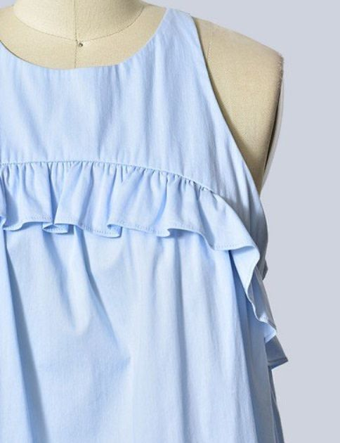 Ruffle Detailed Sleeveless Top Baby Blue