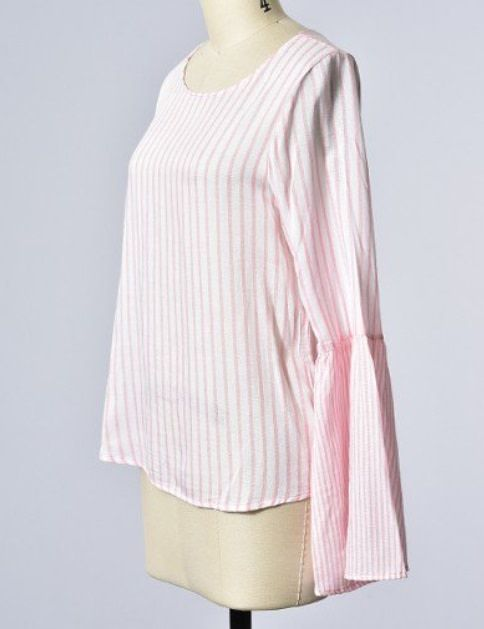 Bow Open Back Bell Sleeve Stripe Top Peach