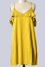 Cold Shoulder Spaghetti Strap Dress Mustard
