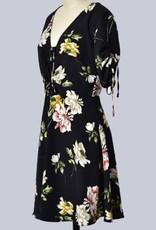 Slit Back Floral Dress Black