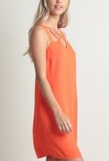 Cutout Front Shift Dress Orange Pop