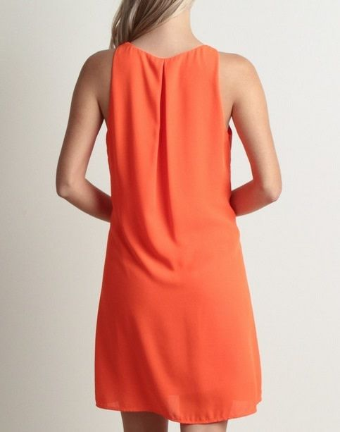 Cutout Front Shift Dress Orange Pop