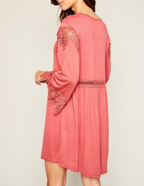 Angel Sleeve Lace Tunic Dress Rose