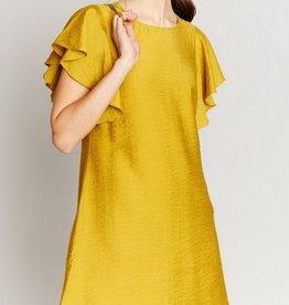 Flutter Sleeve Mini Dress Dijon