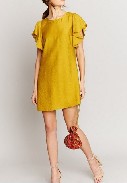 Flutter Sleeve Mini Dress Dijon