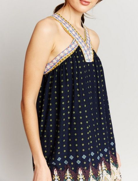 Halter Diamond Prind Dress Navy