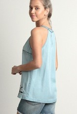 Tencel Washed Embroidered Denim Top Lt Denim