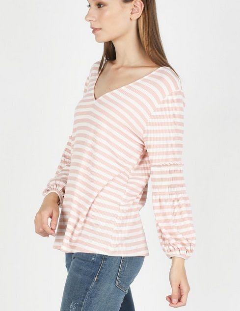 Striped Rib Knit Top Dark Pink