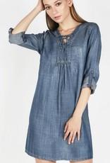 Tencel Washed Denim Lace Up Dress Lt Blue