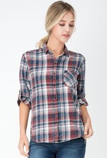Distressed Plaid Button Up Top Red/Green