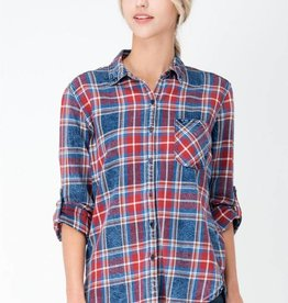 Distressed Plaid Button Up Top Blue/Red