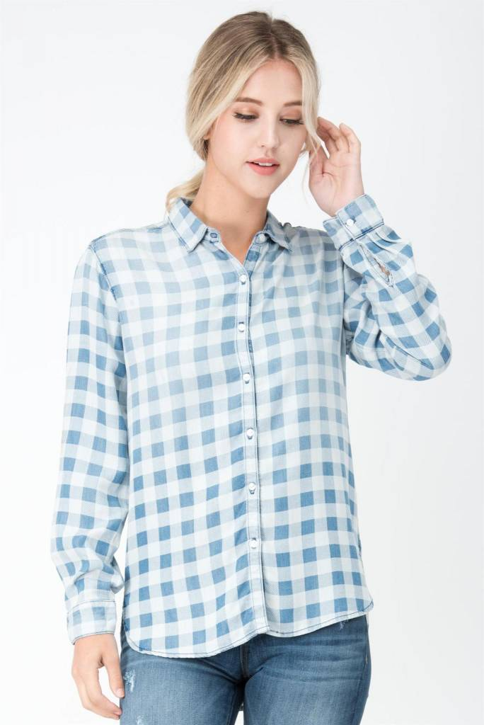 Gingham Checkered Button Up Top Blue