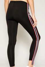 Side Stripe Tape Leggings Black