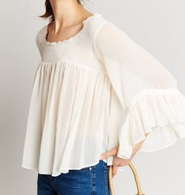 Ruffle and Lace Angle Sleeve Top Cream