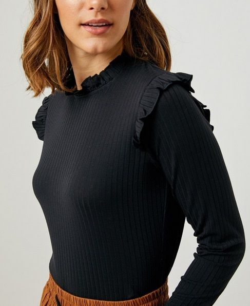 Ribbed Ruffle Mock Neck Top Black