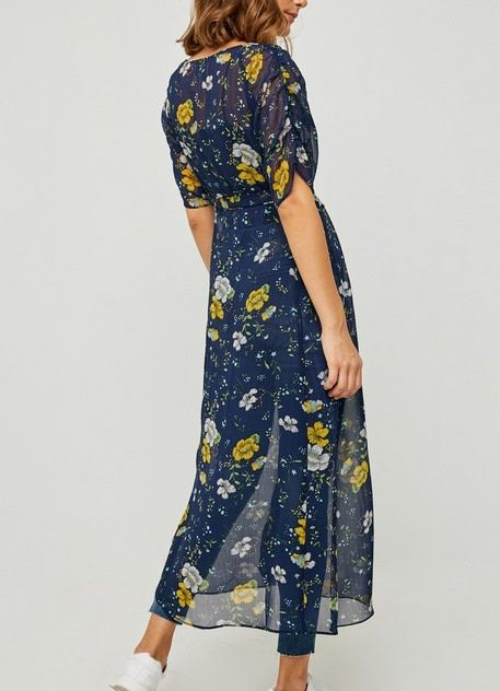Sheer Floral Button-Down Duster Navy
