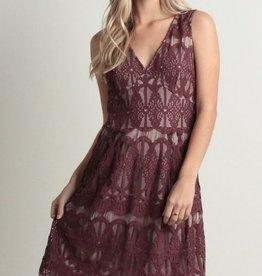 V-Neck Lace Pattern Dress Dark Berry