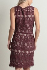 V-Neck Lace Pattern Dress Dark Berry