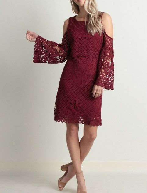 Lace Cold Shoulder Dress Wine