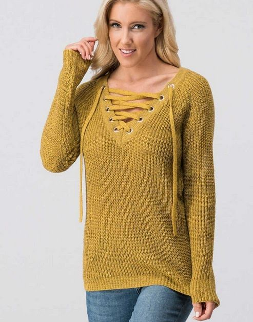 Crisscross Front Knit Sweater