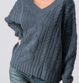 V Neck Loose Fit Cable Knit Sweater