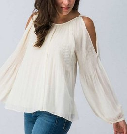 Cold Shoulder Chiffon Top Lt Taupe