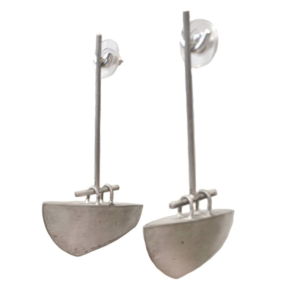 Baharal + Gnida Baharal + Gnida Drop Ships Silver Earrings