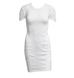 HIGH HIGH Encore Lace Top Ruched Bottom Dress - White