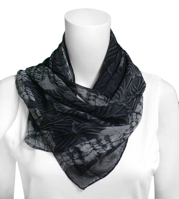 Mary Jaeger Mountain Dot Oblong Grey Scarf