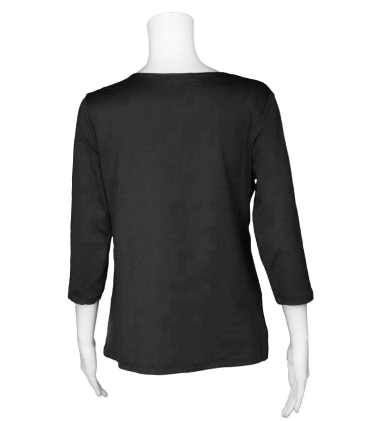 A'nue Ligne A'nue Ligne 3/4 Sleeve V-Neck Boxy Top - Black