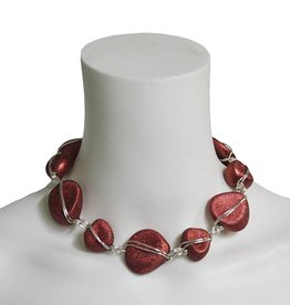 Abra Couture Abra Couture Nugget and Wire Necklace - Red