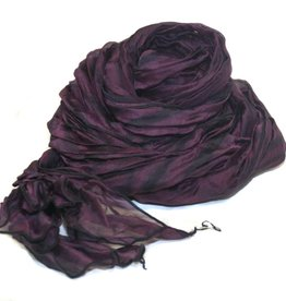 Amy Nguyen Crinkle Fine Organza Scarf - New Red & Black