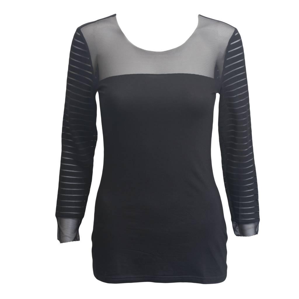 Art Point Art Point Sheer Sleeves and Shoulders Top - Black