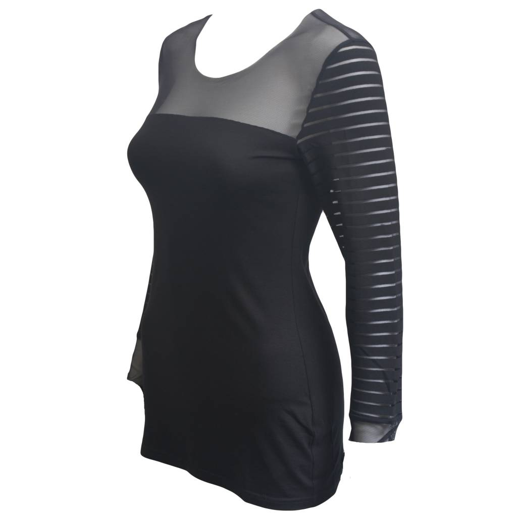 Art Point Sheer Sleeves and Shoulders Top - Black