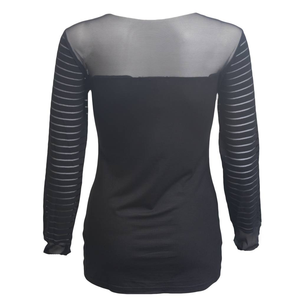 Art Point Sheer Sleeves and Shoulders Top - Black