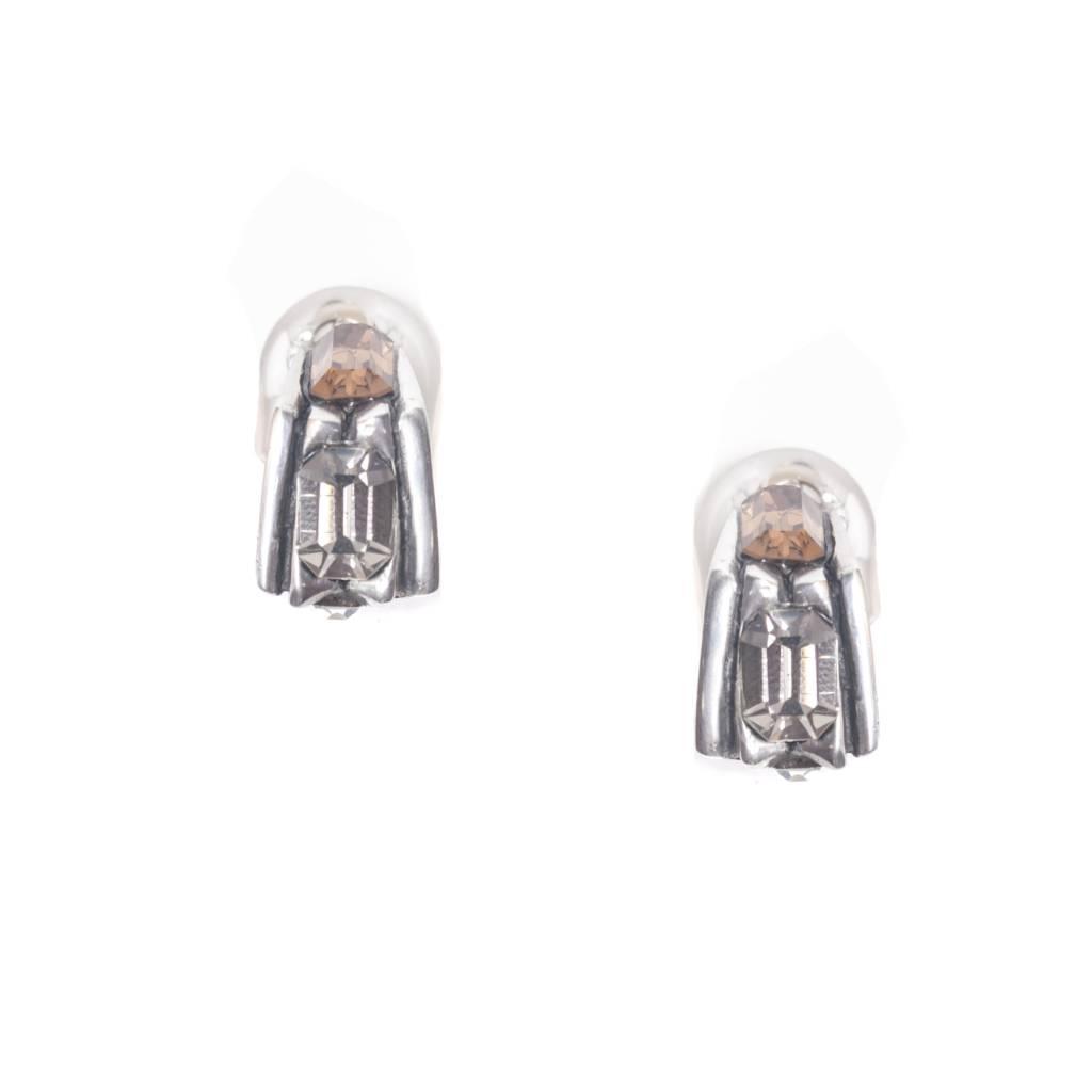 Fahrenheit Fahrenheit Ridge Crystal Clip Earrings