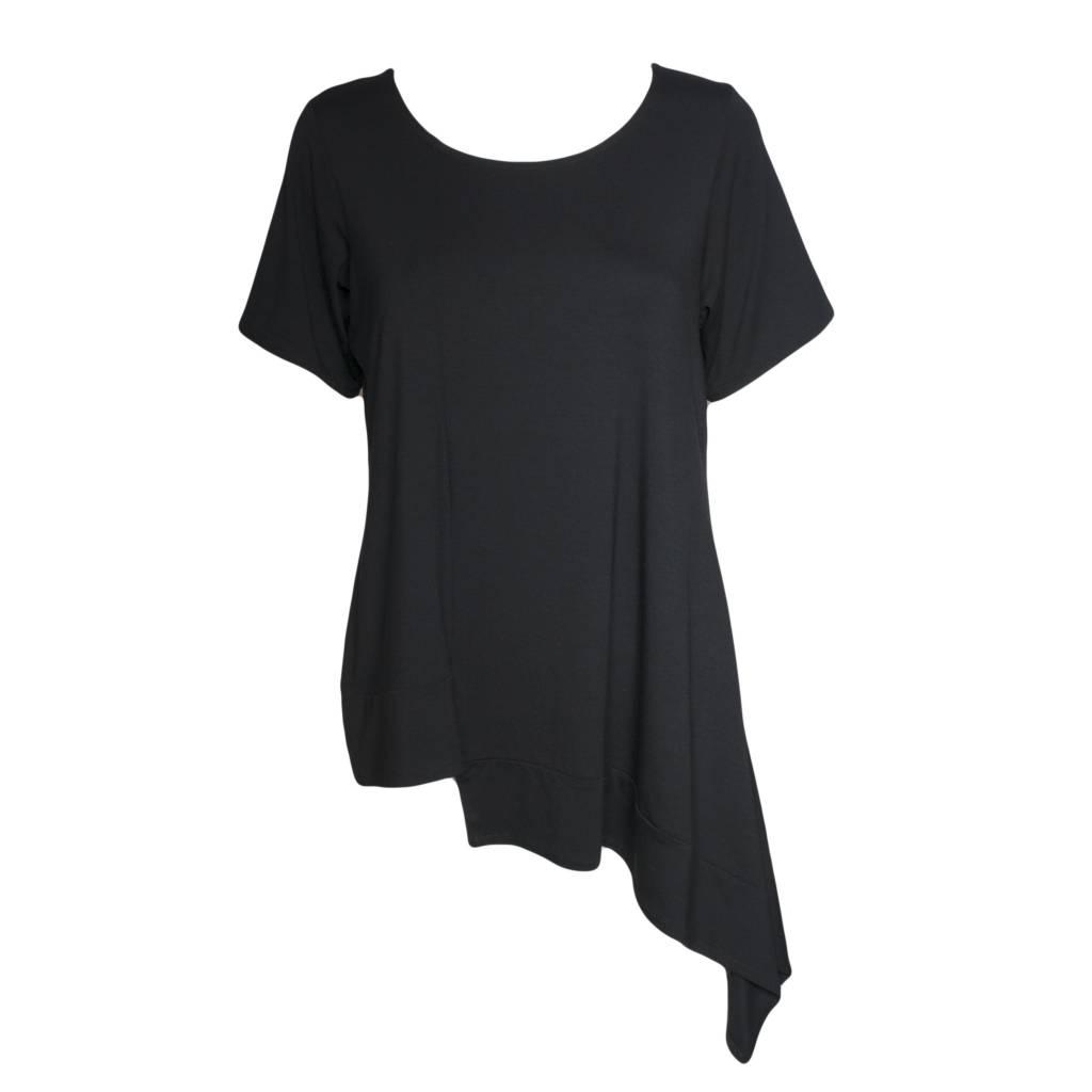 Avivit Yizhar Avivit Yizhar Short Sleeve Asym Top - Black