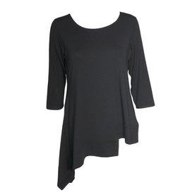 Avivit Yizhar Avivit Yizhar 3/4 Sleeve Asym Top - Black