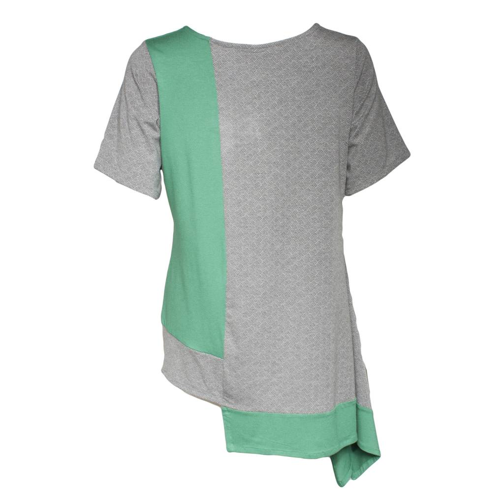 Avivit Yizhar Avivit Yizhar Short Sleeve Asym Top - GreenGrey Print